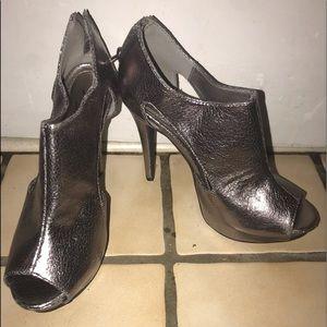 Silver open toe heels